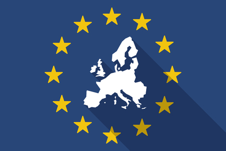 Illustration of an European Union  long shadow flag with  a map of Europe  イラスト・ベクター素材