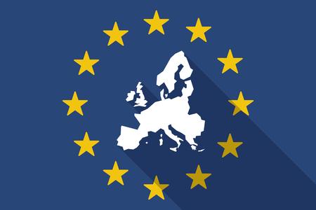 europa: Ilustración de una bandera larga sombra Unión Europea con un mapa de Europa