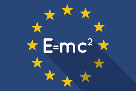 theory: Illustration of an European Union  long shadow flag with the Theory of Relativity formula Illustration