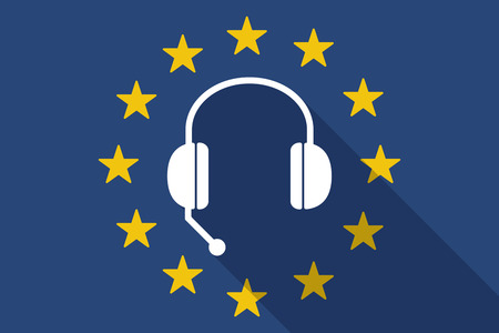 hands free phone: Illustration of an European Union  long shadow flag with  a hands free phone device