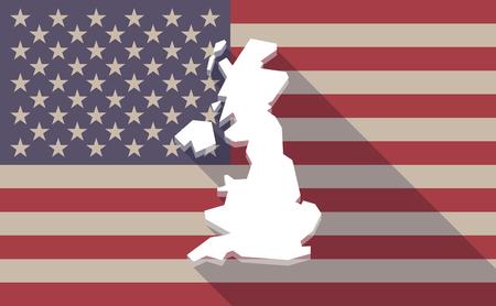 英国の地図と長い影米国旗のアイコンの図