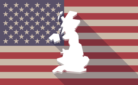 Illustration of a long shadow USA flag icon with  a map of the UK
