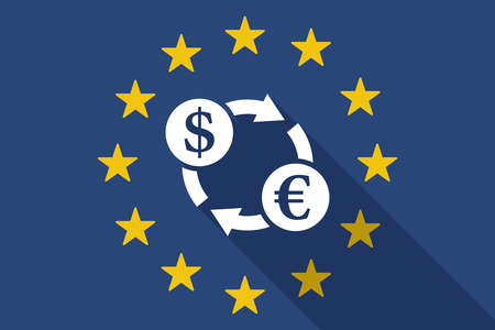 Illustration of an European Union  long shadow flag with a dollar euro exchange sign