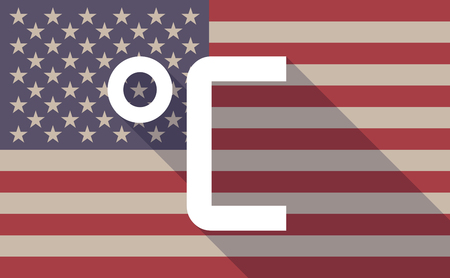celsius: Illustration of a long shadow USA flag icon with  a Celsius degree sign Illustration