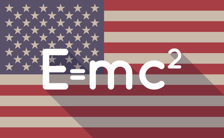 relativity: Illustration of a long shadow USA flag icon with the Theory of Relativity formula