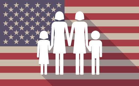 lesbian: Illustration of a long shadow USA flag icon with a lesbian parents family pictograph
