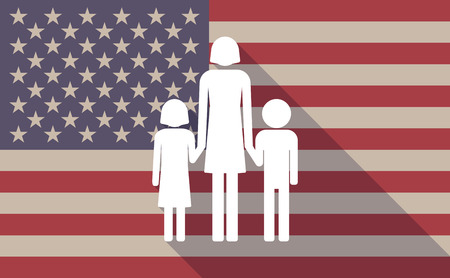 single family: Illustration of a long shadow USA flag icon with a female single parent family pictograph Illustration