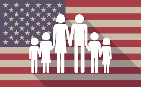 large family: Illustration of a long shadow USA flag icon with a large family  pictograph