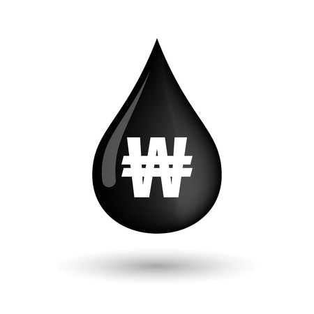 Illustration of a vector oil drop icon with a won currency sign