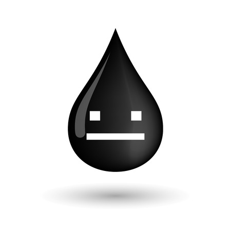 emotionless: Illustration of a vector oil drop icon with a emotionless text face