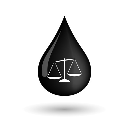 injustice: Illustration of a vector oil drop icon with  an unbalanced weight scale Illustration