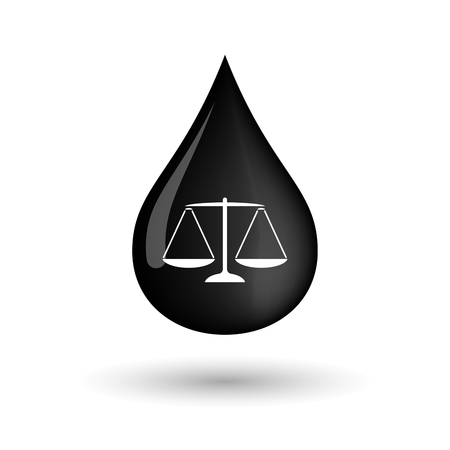 tribunal: Illustration of a vector oil drop icon with a justice weight scale sign
