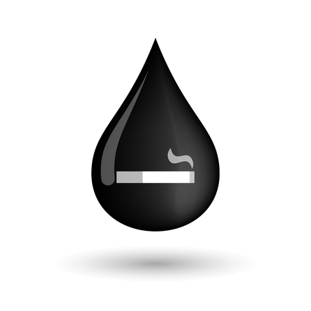 cigar shape: Illustration of a vector oil drop icon with a cigarette