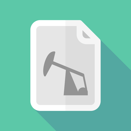 horsehead pump: Illustration of a long shadow document vector icon with a horsehead pump