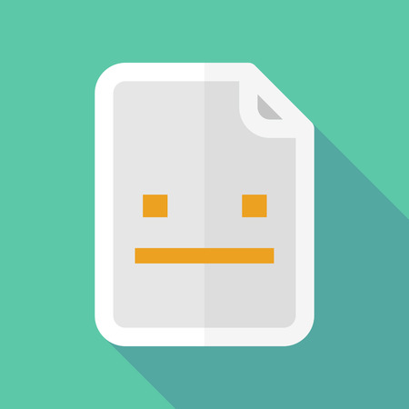 emotionless: Illustration of a long shadow document vector icon with a emotionless text face