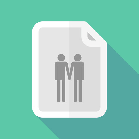 gay couple: Illustration of a long shadow document vector icon with a gay couple pictogram Illustration