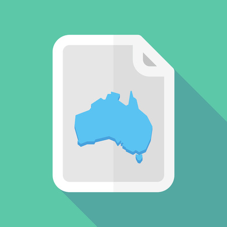 bureaucracy: Illustration of a long shadow document vector icon with  a map of Australia Illustration