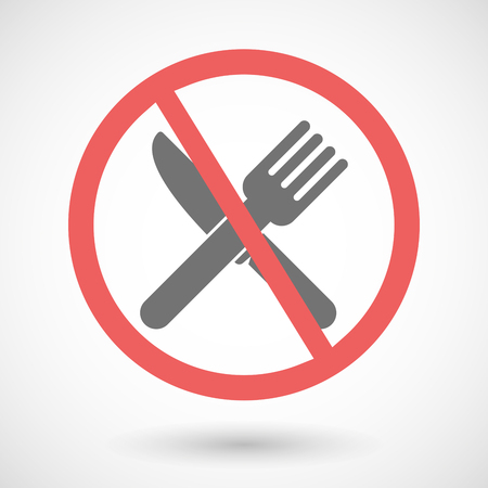 Illustration of a forbidden vector signal with a knife and a fork Illustration