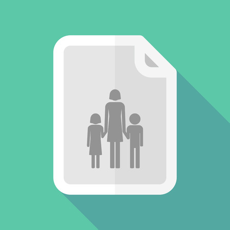 single parent family: Illustration of a long shadow document vector icon with a female single parent family pictogram
