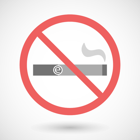 e cigarette: Illustration of a forbidden vector signal with an electronic cigarette
