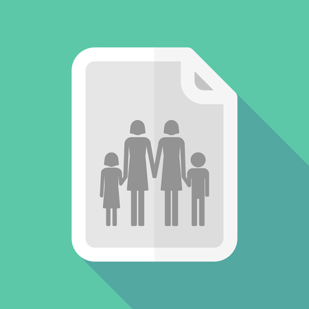 lesbian: Illustration of a long shadow document vector icon with a lesbian parents family pictogram
