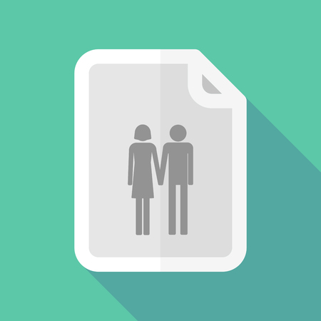 heterosexual couple: Illustration of a long shadow document vector icon with a heterosexual couple pictogram