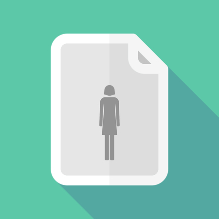 bureaucracy: Illustration of a long shadow document vector icon with a female pictogram Illustration