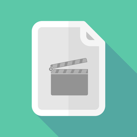 Illustration of a long shadow document vector icon with a clapperboard