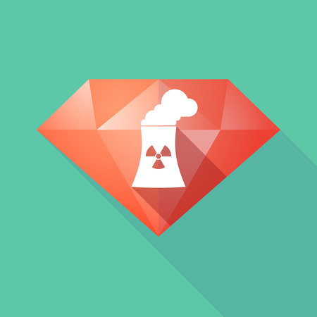nuclear power station: Illustration of a long shadow diamond icon with a nuclear power station