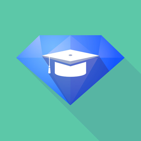 Illustration of a long shadow diamond icon with a graduation cap