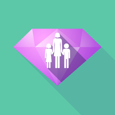 single parent: Illustration of a long shadow diamond icon with a female single parent family pictogram