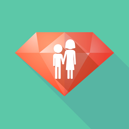 orphan: Illustration of a long shadow diamond icon with a childhood pictogram Illustration