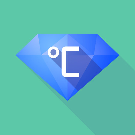 celsius: Illustration of a long shadow diamond icon with  a celsius degree sign Illustration