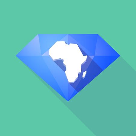 Ilustración de un icono de diamante larga sombra con un mapa del continente africano