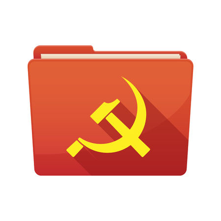 communist: Illustration of a long shadow  binder with   the communist symbol