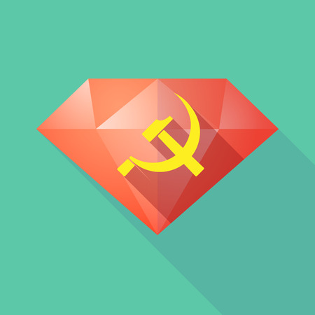 communist: Illustration of a long shadow diamond icon with  the communist symbol Illustration