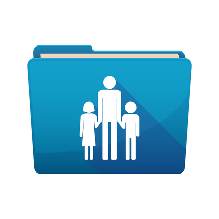 single parent: Illustration of a long shadow  binder with  a male single parent family pictogram