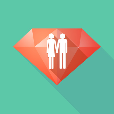 heterosexual couple: Illustration of a long shadow diamond icon with a heterosexual couple pictogram Illustration