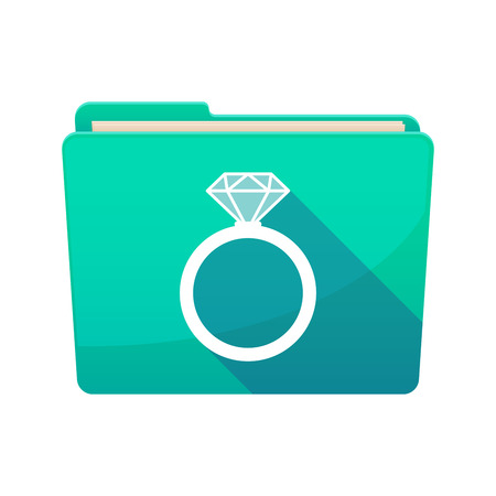 ring binder: Illustration of a long shadow  binder with  an engagement ring Illustration