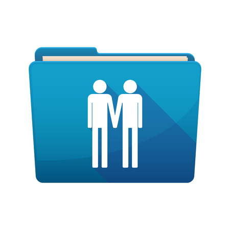 gay couple: Illustration of a long shadow  binder with  a gay couple pictogram Illustration