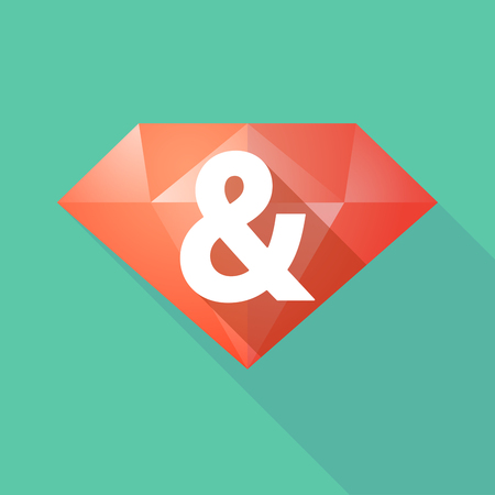 carats: Illustration of a long shadow diamond icon with an ampersand Illustration