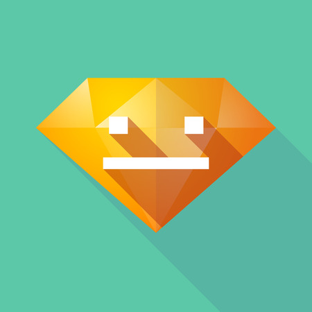 emotionless: Illustration of a long shadow diamond icon with a emotionless text face