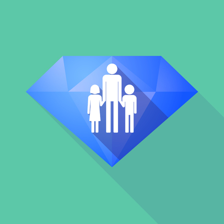 single parent family: Illustration of a long shadow diamond icon with a male single parent family pictogram Illustration