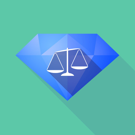 tribunal: Illustration of a long shadow diamond icon with  an unbalanced weight scale