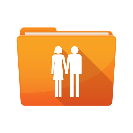 heterosexual: Illustration of a long shadow  binder with  a heterosexual couple pictogram