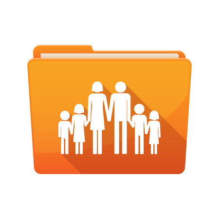 large family: Illustration of a long shadow  binder with  a large family  pictogram
