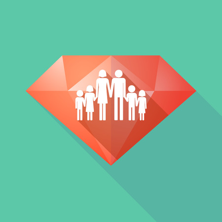large family: Illustration of a long shadow diamond icon with a large family  pictogram