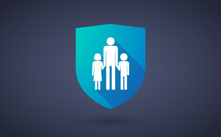 single parent: Illustration of a long shadow shield icon with a male single parent family pictogram