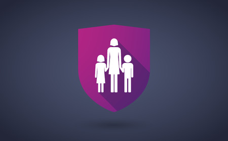 single parent: Illustration of a long shadow shield icon with a female single parent family pictogram