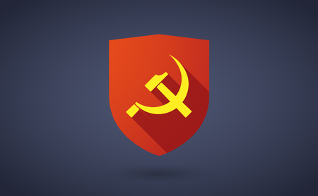 communist: Illustration of a long shadow shield icon with  the communist symbol